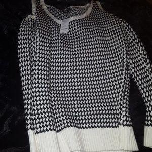 Bebe Shoulder Cut-Out Sweater B/W